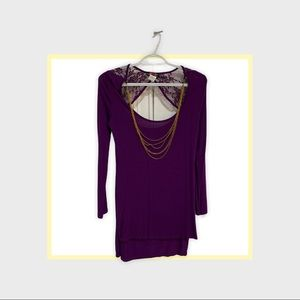 Body Central Long Tunic Shirt Dress With Necklace!
